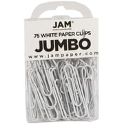 JAM Paper® Colored Jumbo Paper Clips, Large, White Paperclips, 75/pack (2184934)