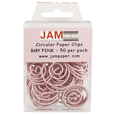 JAM Paper® Circular Colored Papercloops, Baby Pink Round Paper Clips, 50/pack (2187132)