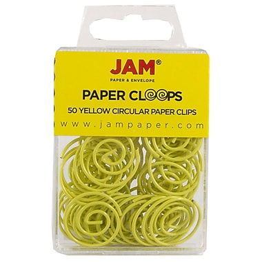 JAM Paper® Circular Colored Papercloops, Yellow Round Paper Clips, 50/pack (2187140)