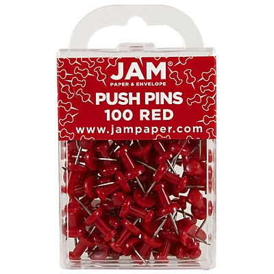 JAM Paper® Push Pins, Red Pushpins, 100/Pack (2242955)