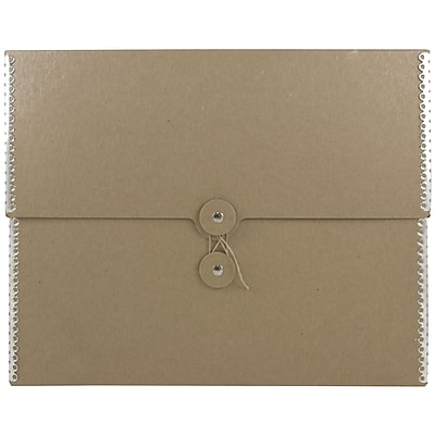JAM Paper® Kraft Chipboard Portfolio, Button and String Tie Closure, 9.5 x 12 x 2.75, Recycled Brown Kraft, 1/pk (3536847)