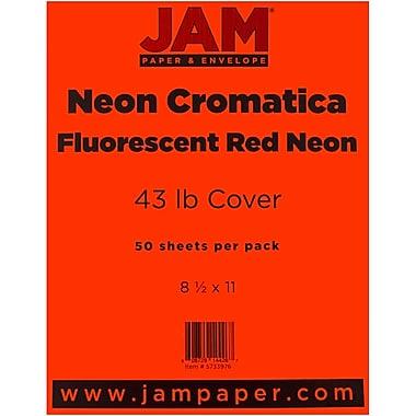 JAM Paper® Neon Cardstock, 8.5 x 11, 43lb Neon Cromatica Cover, Fluorescent Red , 50/pack (5733976)