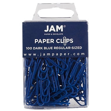 JAM Paper® Colored Standard Paper Clips, Small, Dark Blue Paperclips, 100/pack (42186868)