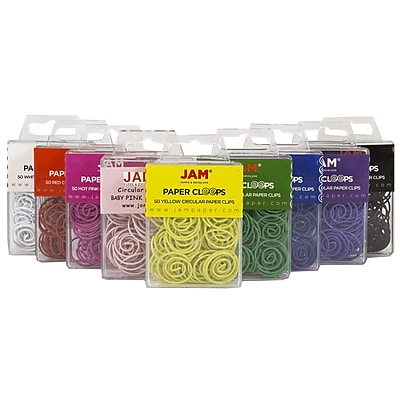 JAM Paper® Circular Colored Papercloops, Assorted Round Paper Clips, 9 packs of 50 clips, 450/pack (221812619)