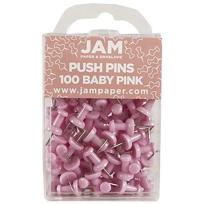 JAM Paper® Push Pins, Baby Pink Pushpins, 100/Pack (222419048)