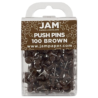 JAM Paper® Push Pins, Chocolate Brown Pushpins, 100/Pack (222419049)