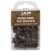 JAM Paper® Push Pins, Chocolate Brown Pushpins, 100/Pack (222419049)