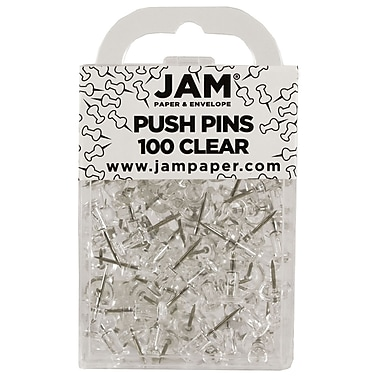 JAM Paper® Push Pins, Clear Pushpins, 100/Pack (222419050)