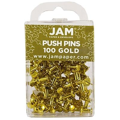JAM Paper® Push Pins, Shiny Gold Pushpins, 100/Pack (222419051)