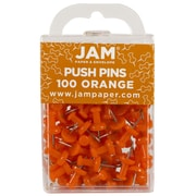 JAM Paper® Push Pins, Orange Pushpins, 100/Pack (222419052)