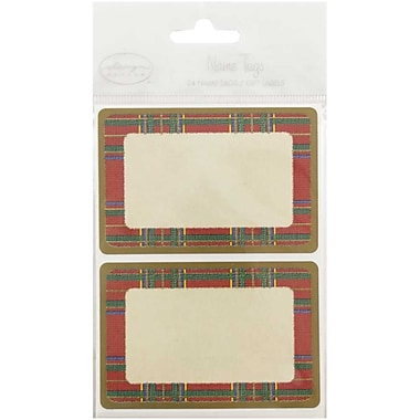 JAM Paper® Christmas Holiday Gift Label Name Tag Stickers, 2.25 x 3.5, Red Flannel, 24/pack (249824363)