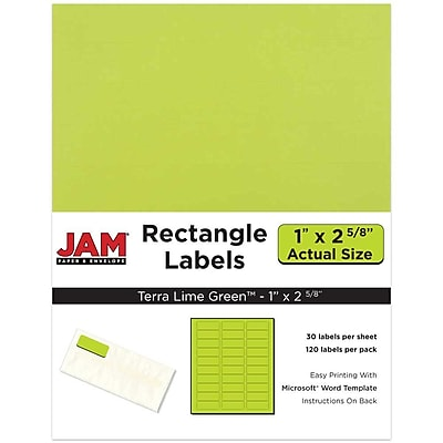 JAM Paper® Mailing Address Labels, 1 x 2 5/8, Ultra Lime Green, 120/pack (302725778)