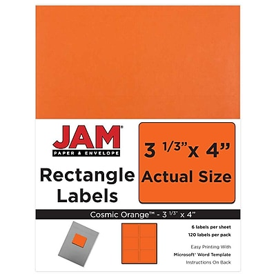 JAM Paper® Mailing Address Labels, 3 1/3 x 4, Orange, 120/pack (302725786)