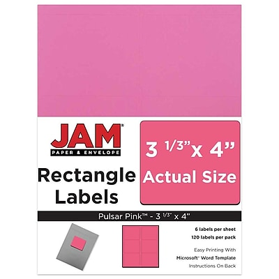 JAM Paper® Mailing Address Labels, 3 1/3 x 4, Ultra Pink, 120/pack (302725799)