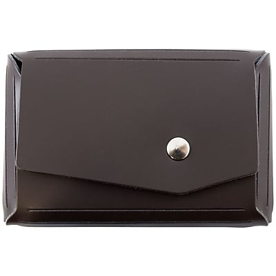 JAM Paper® Leather Business Card Case, Angular Flap, Dark Brown, Sold Individually (2233317458)