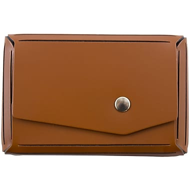 JAM Paper® Leather Business Card Case, Angular Flap, Brown, Sold Individually (2233317459)