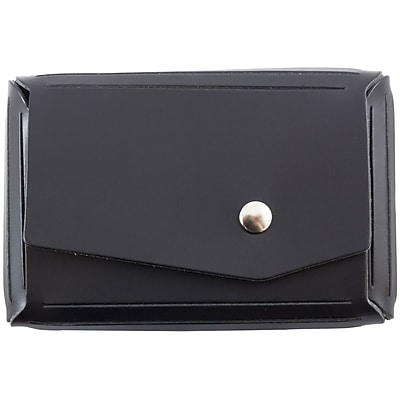 JAM Paper® Leather Business Card Case, Angular Flap, Black, 100/pack (2233317460B)