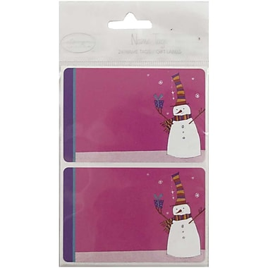 JAM Paper® Christmas Holiday Gift Label Name Tag Stickers, 2.25 x 3.5, Pink Snowman, 24/pack (3167215457)