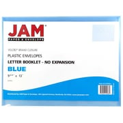 JAM Paper® Plastic Envelopes with VELCRO® Brand Closure, Letter Booklet, 9.75 x 13, Blue Poly, 12/Pack (218V0BU)