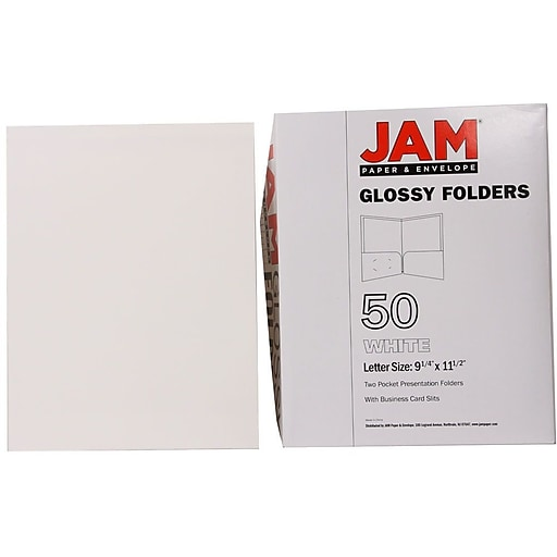 Jam paper glossy two pocket presentation folders white 50box httpsstaples 3ps7is reheart Image collections