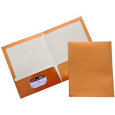 JAM Paper® Glossy Two Pocket Presentation Folders, Copper, 6/pack (50495 80D)