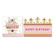 """Viabella Cupcakes and Crowns Birthday, Assorted, Birthday, 5"""" x 7"""", 2/Pack"""