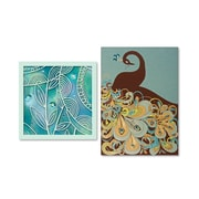 """Viabella Peacock and Leaves Birthday Asst, Birthday, 5"""" x 7"""", 2/Pack"""