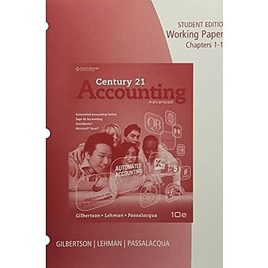 Working Papers, Chapters 1-14 for Gilbertson/Lehman/Passalacqua's Century 21 Accounting: Advanced, 10th, Used Book