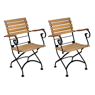 Furniture Designhouse European Grande Caf Folding Patio Dining Chair (Set of 2)