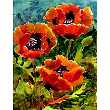 Caroline's Treasures Poppies 2-Sided Garden Flag