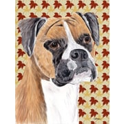 Caroline's Treasures Boxer Fall Leaves Portrait 2-Sided Garden Flag