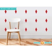 Sunny Decals Diamond Fabric Wall Decal (Set of 16); Red