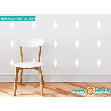 Sunny Decals Diamond Fabric Wall Decal (Set of 16); White