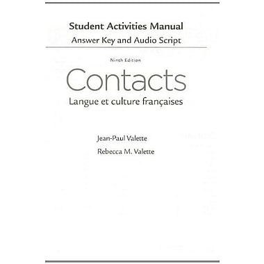 SAM Answer Key with Audio Script for Valette/Valette's Contacts: Langue et culture fran aises, Used Book (9781285050409)