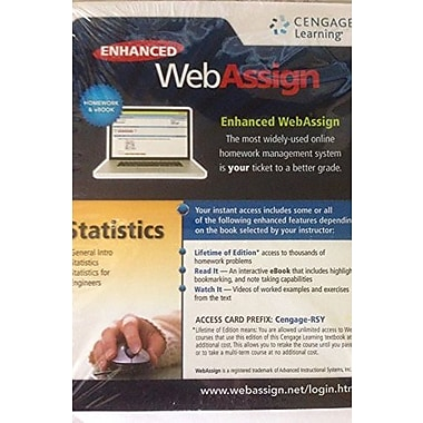 ENHANCED WEBASSIGN..STATIS.-SINGLE TERM, New Book (9781285858050)