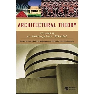 Architectural Theory: Volume II - An Anthology from 1871 to 2005, New Book (9781405102605)