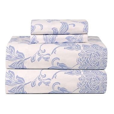 Celeste Home Celeste Home Ultra Soft Flannel Sheet Set in Blue & Ivory; Queen