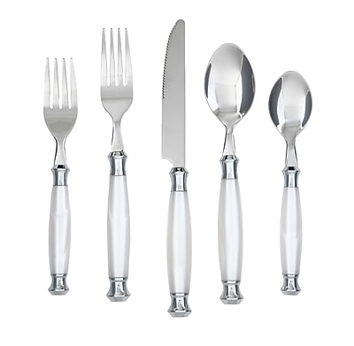 Cambridge Barcelona 20 Piece Flatware Set I; White WYF078276976141