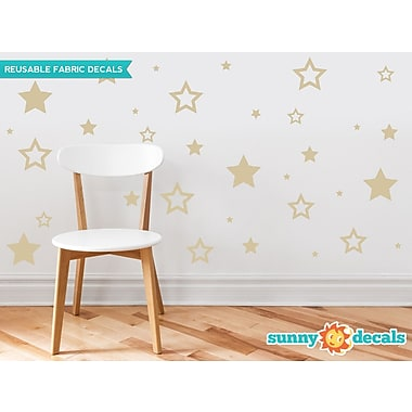 Sunny Decals Stars Fabric Wall Decal; Beige