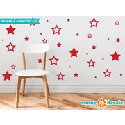 Sunny Decals Stars Fabric Wall Decal; Red