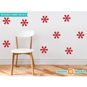 Sunny Decals Flower Fabric Wall Decal (Set of 9); Red