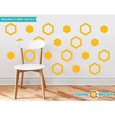 Sunny Decals Hexagon Fabric Wall Decal (Set of 16); Yellow Orange