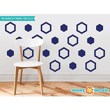 Sunny Decals Hexagon Fabric Wall Decal (Set of 16); Navy