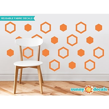 Sunny Decals Hexagon Fabric Wall Decal (Set of 16); Orange