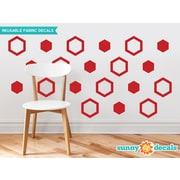 Sunny Decals Hexagon Fabric Wall Decal (Set of 16); Red