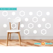 Sunny Decals Hexagon Fabric Wall Decal (Set of 16); White