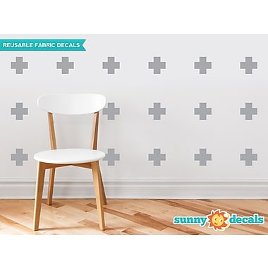 Sunny Decals Plus Sign Fabric Wall Decal (Set of 18); Grey