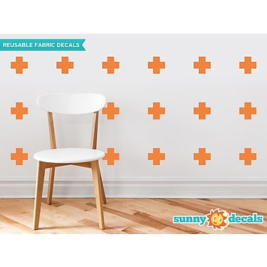 Sunny Decals Plus Sign Fabric Wall Decal (Set of 18); Orange