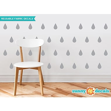 Sunny Decals Raindrop Fabric Wall Decal (Set of 40); Grey