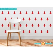 Sunny Decals Raindrop Fabric Wall Decal (Set of 40); Red